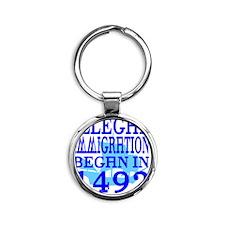 1492-blue-bb-blue Round Keychain