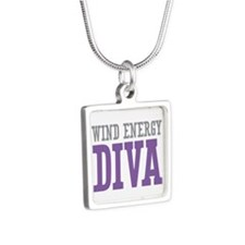 Wind Energy DIVA Silver Square Necklace