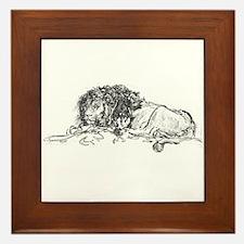 Lion Sketch Framed Tile