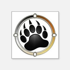 "Bear Paw In Pride Circle Square Sticker 3"" x 3"""