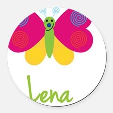 Lena-the-butterfly Round Car Magnet