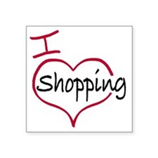 "I heart shopping Square Sticker 3"" x 3"""