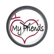 I heart my friends Wall Clock