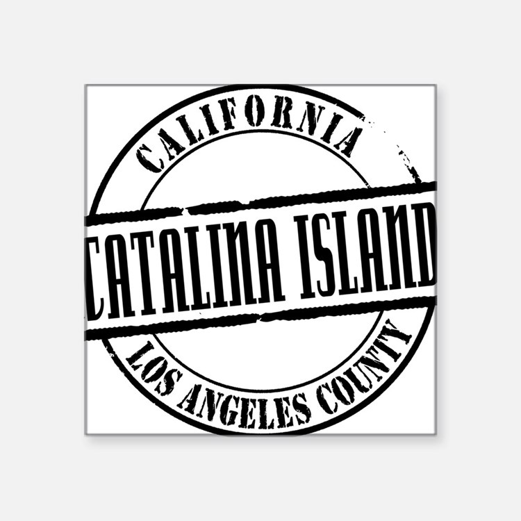 "Catalina Island Title W Square Sticker 3"" x 3"""