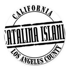 Catalina Island Title W Round Car Magnet