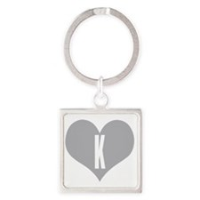 Heart K letter - Love Square Keychain
