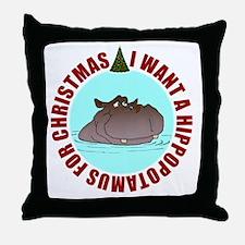 CIR-hippo-for-xmas-1-CORRECTED Throw Pillow