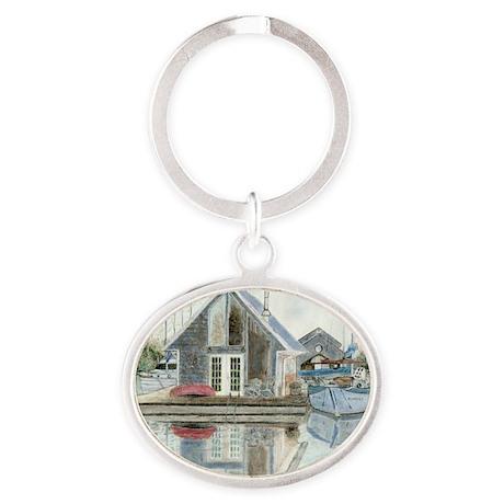 10x10_aFloat-BevKadowArt Oval Keychain