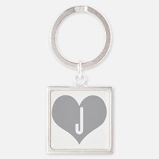 Heart J letter - Love Square Keychain