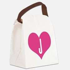Heart J letter - Love Canvas Lunch Bag