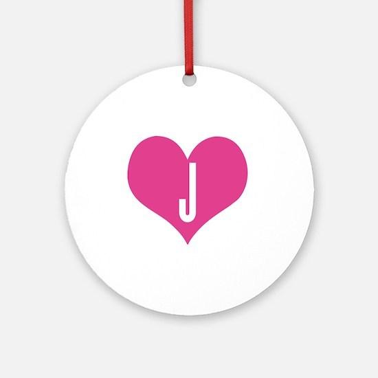 Heart J letter - Love Round Ornament