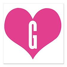 "Heart G letter - Love Square Car Magnet 3"" x 3"""