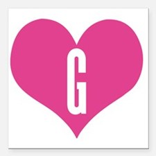 "Heart G letter - Love Square Car Magnet 3"" x 3"""