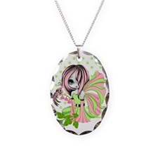 Bleeding Heart Fae Pink-Green  Necklace