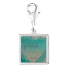 Aqua Heart Abstract Silver Square Charm