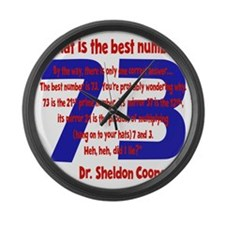 blue-red, 73-quote overlapped Large Wall Clock