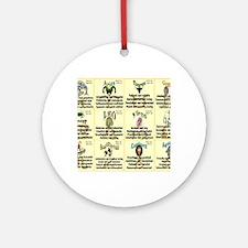 zodiac-calendar Round Ornament