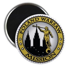 Poland Warsaw LDS Mission Angel Moroni Gold Magnet