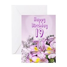 19th Birthday card with alstromeria lily flowers G
