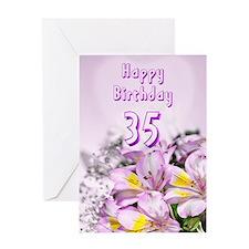 35th Birthday card with alstromeria lily flowers G