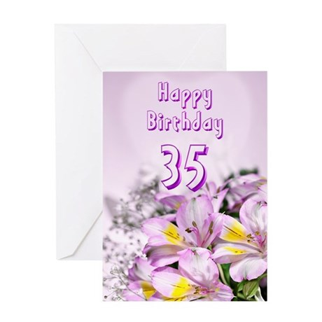 35th Birthday card with alstromeria lily flowers G
