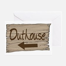 Vintage Outhouse Sign Greeting Cards