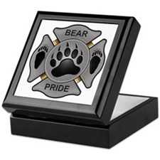 Bear Pride Firefighter Badge Keepsake Box