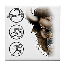 buffalo head glass Tile Coaster
