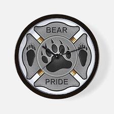 Bear Pride Firefighter Badge Wall Clock