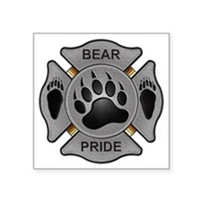 "Bear Pride Firefighter Badg Square Sticker 3"" x 3"""