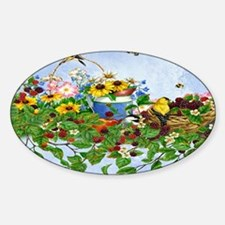 Beautiful birds, busy butterflies,  Sticker (Oval)