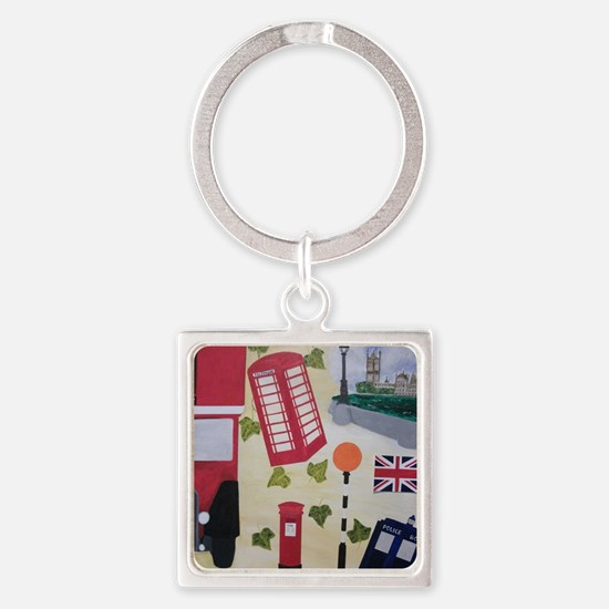 Cute Police box Square Keychain