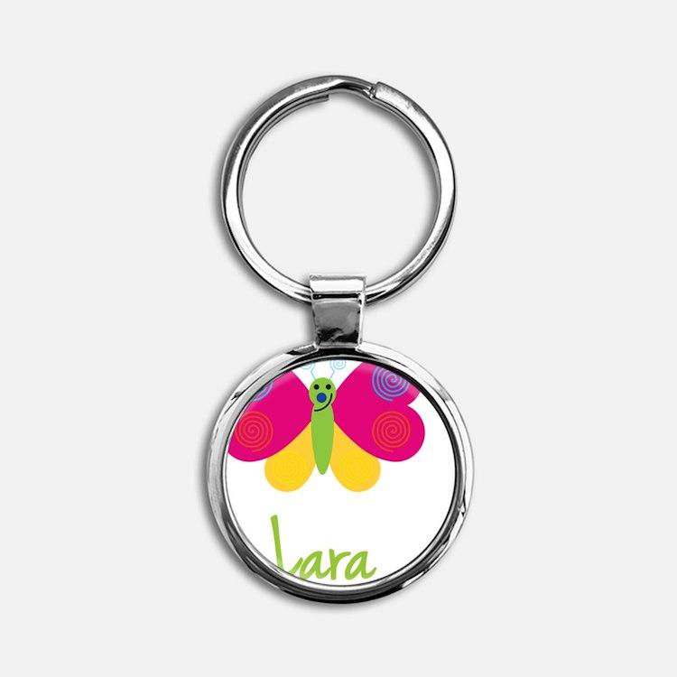 Lara-the-butterfly Round Keychain