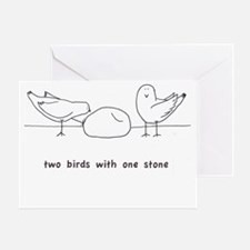 Two Birds with One Stone Greeting Card