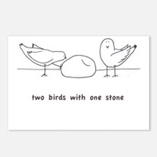 Two Birds with One Stone Postcards (Package of 8)