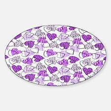 Allover Valentine Hearts copy copy Sticker (Oval)
