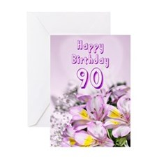 90th Birthday card with alstromeria lily flowers G