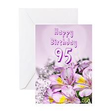 95th Birthday card with alstromeria lily flowers G