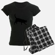 Black Cat on White Pajamas