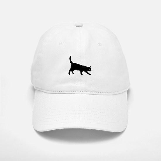 Black Cat on White Baseball Baseball Baseball Cap