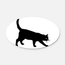 Black Cat on White Oval Car Magnet