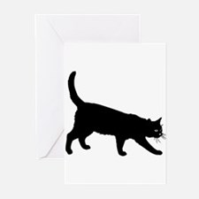 Black Cat on White Greeting Cards
