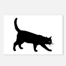 Black Cat on White Postcards (Package of 8)