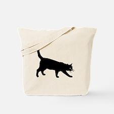 Black Cat on White Tote Bag