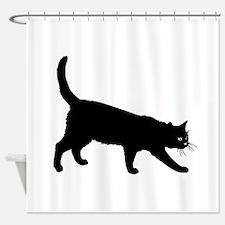 Black Cat on White Shower Curtain