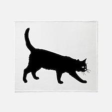 Black Cat on White Throw Blanket