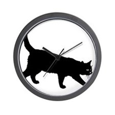 Black Cat on White Wall Clock