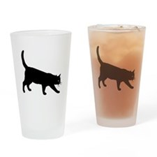 Black Cat on White Drinking Glass