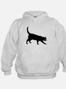 Black Cat on White Hoodie