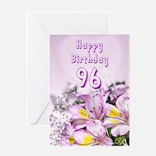 96th Birthday card with alstromeria lily flowers G